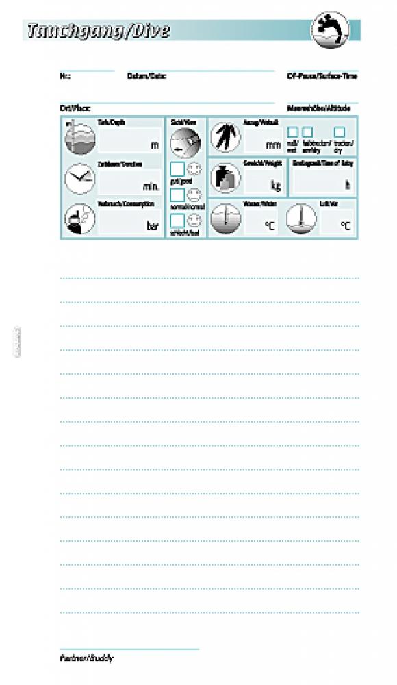 Einlagen Tauchgangsblätter SINGLE für 100 TG